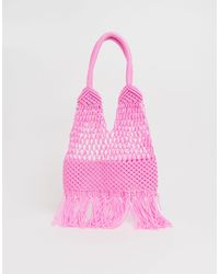 Glamorous Crochet Tote Bag - Pink