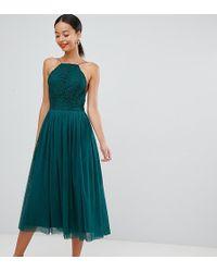 ASOS Asos Design Premium Tall Tulle Midi Prom Dress - Green