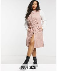 Simply Be Suedette Sleeveless Trench - Pink