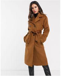 Warehouse Коричневое Двубортное Фактурное Пальто На Пуговицах -светло-коричневый