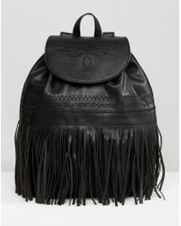 Mango - Embroidered Fringed Backpack - Lyst