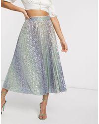 ASOS Ombre Sequin Pleated Midi Skirt - Multicolour