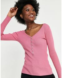 Morgan Button Front Knit Top - Pink