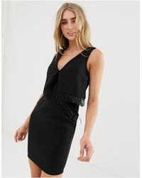 Lavish Alice Origami Mini Dress With Beaded Fringe Trim - Black