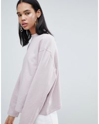 Weekday - High Neck Sweatshirt In Dusty Pink - Lyst
