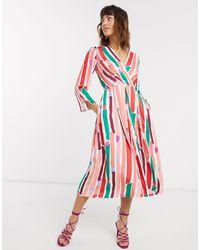 Closet Wardrobe Pleated Wrap Dress-multi - Pink