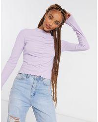 Monki Сиреневый Лонгслив Со Сборками Спереди Ruchie-фиолетовый - Пурпурный
