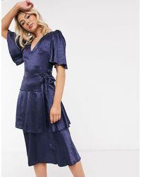 Little Mistress Темно-синее Атласное Платье Миди -темно-синий