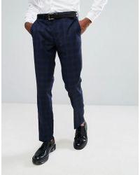 Rudie Pantalon de costume slim carreaux Prince de Galles - Bleu