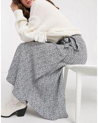 & Other Stories Vintage Floral Wrap Midi Skirt - Black