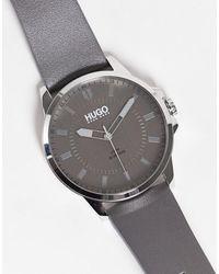 HUGO Серые Мужские Часы С Кожаным Ремешком 1530185-серый