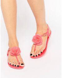 Mel by Melissa Flower T-bar Flat Sandal - Pink