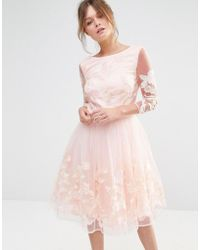 Chi Chi London Premium Midi Prom Dress With Embrodery - Natural