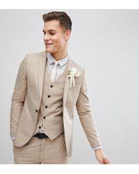 Noak Veste de costume de mariage slim à carreaux - Neutre
