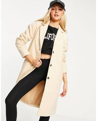 Pieces Alice Wool-blend Coat - Natural