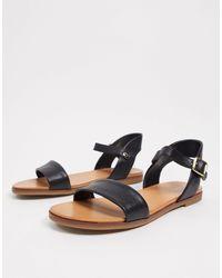 ALDO Two Part Flat Sandals - Black