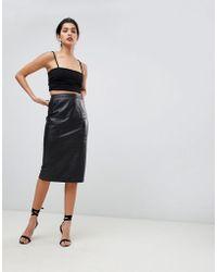 ASOS Midi Pencil Skirt In Leather - Black