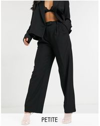 Y.A.S Petite Suit Wide Leg Trousers With Tab Button Up Waist - Black