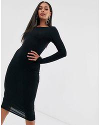 Boohoo Черное Платье Миди С Длинными Рукавами -черный