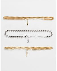 TOPSHOP Chain And Bobble 3 X Multipack Choker Necklaces - Metallic