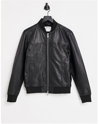 SELECTED Черная Кожаная Куртка -черный Цвет