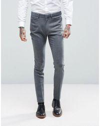 ASOS - Wedding Super Skinny Suit Trousers In Herringbone Blue Wool Blend - Lyst