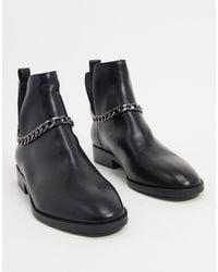 Stradivarius Черные Ботинки Челси С Цепочками -черный