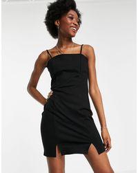 Pimkie Square Neck Mini Dress With 90s Spilt Hem - Black