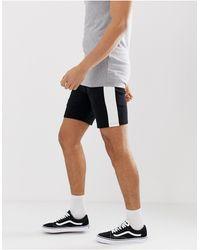 ASOS Jersey Skinny Shorts With Side Stripe - Black