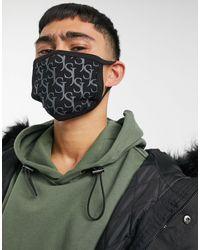 Sixth June – e Gesichtsmaske mit Monogrammprint - Schwarz