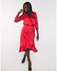 Oasis Frill Wrap Midi Dress - Red
