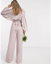 TFNC London Bridesmaids Wide Leg Pant With Ruffle Waist Detail And Belt - Pink