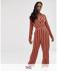 Collusion Tall Stripe Wrap Jumpsuit - Red