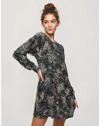 Miss Selfridge Animal Print Smock Dress - Black