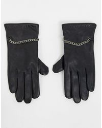 Barneys Originals Barney's Originals Real Leather Gloves With Chain Detailing - Black