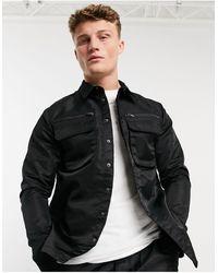 Native Youth – Cyrus – schwarze Hemdjacke aus glänzendem Nylon, Kombiteil