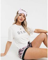 DKNY Logo T-shirt Eyemask And Premium Satin Short Pyjama Set - Pink