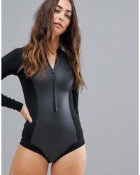 Roxy - Satin Cheeky Long Sleeve Neoprene Wetsuit In Black - Lyst