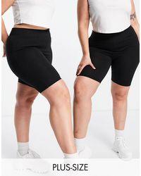 Simply Be 2-pack legging Shorts - Black