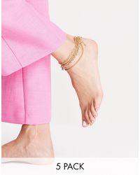 ASOS Набор Из 5 Золотистых Браслетов На Ногу С Навесным Замочком И Цепочками Различного Дизайна - Розовый