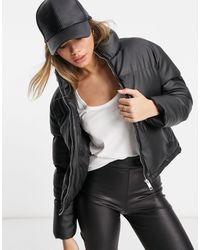 Brave Soul Tropic Faux-leather Puffer Jacket - Black