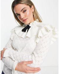 Y.A.S Maglione crema con volant sul collo e laccio - Bianco
