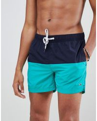 Tommy Hilfiger - Colourblock Flag Logo Swimshorts In Navy/green - Lyst