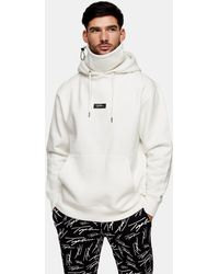 TOPMAN Signature Embroidered Face Covering Hoodie - White