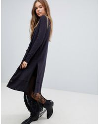 Free People Sparkly Long Cardigan - Blue