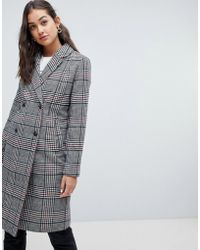 ONLY - Check Coat - Lyst