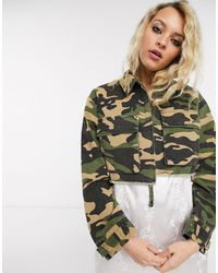 Reclaimed (vintage) Inspired Cropped Shacket - Multicolour