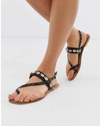 Office Shell Studded Toe Loop Sandals - Black