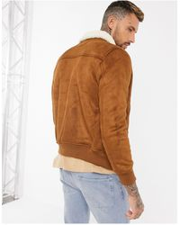 Bershka Suede Bomber Jacket With Borg Collar - Brown