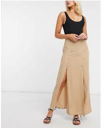 ASOS Double Split Maxi Skirt - Brown